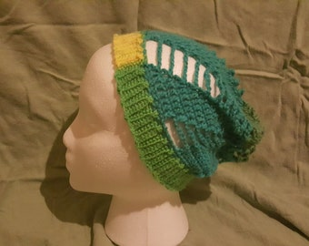 Child's Spinning Summer Slouchy Beanie- Green and Yellow