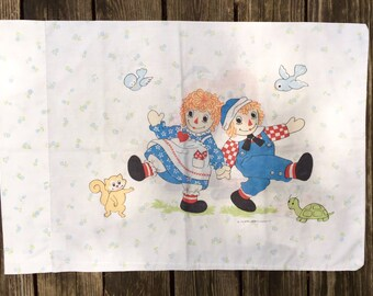 Vintage Raggedy Ann and Andy Pillowcase, 1970's