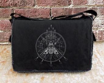 Messenger Bag with Compass Arrows & Eye Illustration - Screen Printed Cotton Canvas Messenger - Black