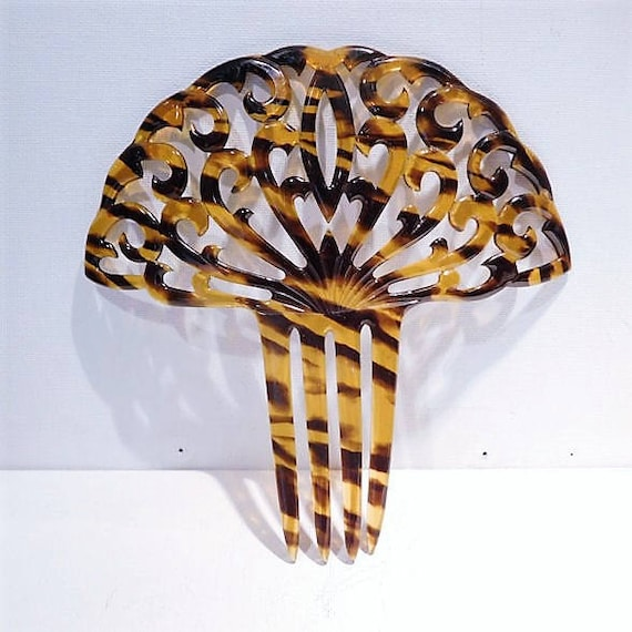LARGE Hair Comb / Faux Tortoise Shell / Celluloid Mantilla