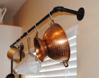 Industrial pot rack, plumbing pipe industrial decor, Kitchen decor, pot holder, farmhouse rustic pot holder, pot and pans storage