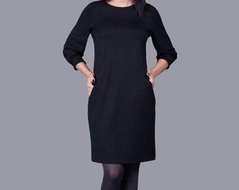Black Dress/ Minimalistic/ Midi Dress With Pockets And Sleeves/ Balloon/ Handmade/ Sphinx Design.lt
