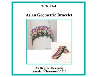 Beading Tutorial Pattern, Asian Geometric Peyote Bracelet, Pattern with Delica Cylinder Beads and Crystals. PDF File Beadweaving Beadwork