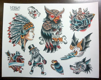 Traditional Tattoo Flash Sheet