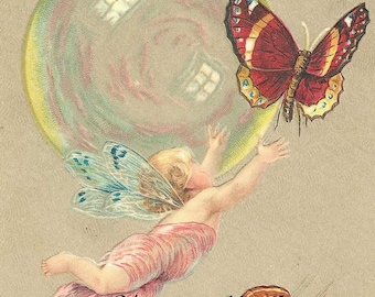 Instant digital download.Fairy, bubble, butterfly. Darling..Make greeting cards, gift tags,price tags,use in decoupage, collage,scrapbooks