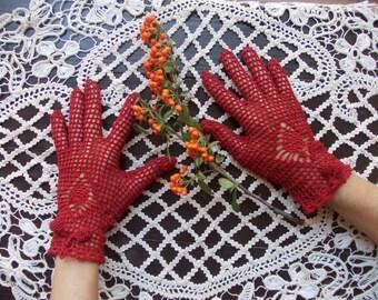 Cotton Gloves, Handmade: red, beige, black, brown, white