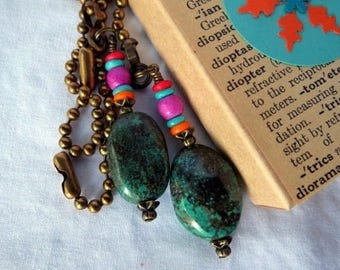 Chain Pull Pair for Ceiling Fan or Lamp Southwestern Style with Turquoise Nugget