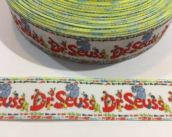 3 Yards of Ribbon 1 inch Wide - Inspired by Dr Seuss with Horton