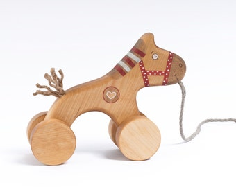 Wooden Horse Toy, Pull Along Horse, Heirloom Toys, Wooden Pull Toy for Toddlers, a Red Horse