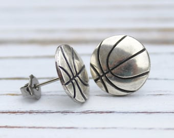 Basketball - antique silver plated post earrings