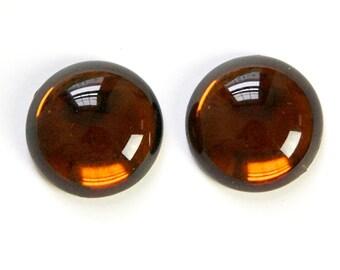 Vintage Topaz Glass Cabochon 20mm Gold Foil (2) cab707A