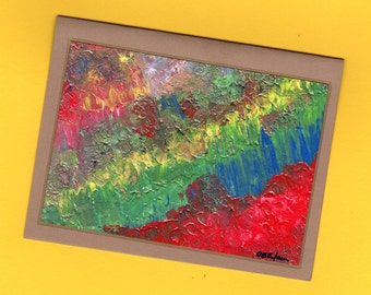 Red Yellow Blue Green Stationery Untitled Number 129 Art Note Card Thinking Of You Abstract Art Get Well Conversations