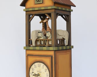 "Whimsical Noah's Ark Clock  ""Ships Tower Clock"""