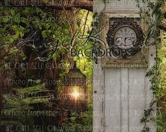 Secret Garden Door Photography Backdrop, Enchanted, Princess, Fairy Tale, Spring, Summer, Valentine's Day, Vines, 60x80 Fleece