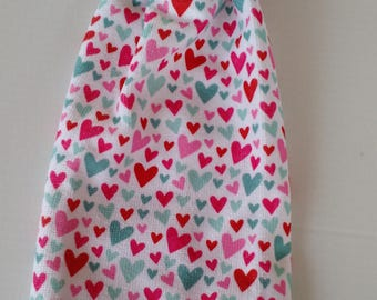 Hanging Heart Towel with Red Crochet Top