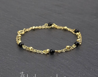 Black agate  and satellite chain double layer bracelet, 14K gold filled