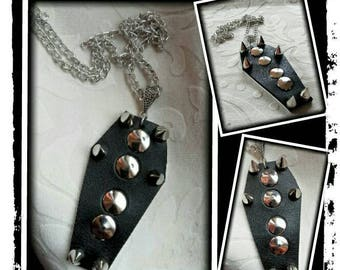 Black studed coffin necklace