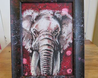 Elephant Chakra Animal Painting on Canvas Board in Painted Resin Frame