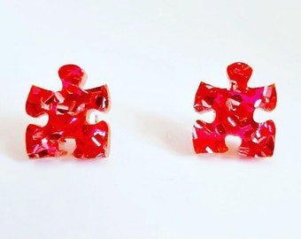 Puzzle studs - Sparkly pink glitter puzzle earrings - Laser cut acrylic earrings - autism earrings - autism studs - autism awareness studs