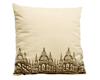 """Cotton Pillow Cover - Decorative Pillow - Throw Pillow - Accent Pillow - Block Printed with NATURAL DYES - Killa Border - 18""""x18"""""""