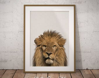 Lion Print Art, Nursery Safari Lion Art Print, Printable Nursery Animal, Safari Animal Wall Decor, Kids Room Wall Art, Nursery Animal Art