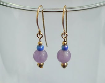 Amethyst and Glass Earrings