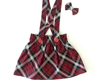 Daenerys Suspender Skirt (baby and toddler plaid suspender skirt)