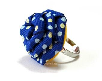 Polka Dot Navy Rose Ring