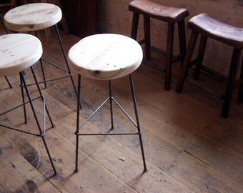 FREE SHIPPING - Factory Style Reclaimed Wood Bar Stools with smooth Metal Legs