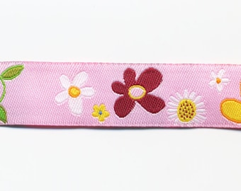 Pink flowers by the meter, fancy woven jacquard Ribbon
