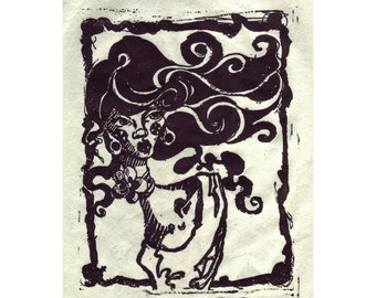 SALE! Original Block Print - A BREEZE Black and white lino cut of a sad lady windy day hand printed by artist LIMITED small run edition of 5
