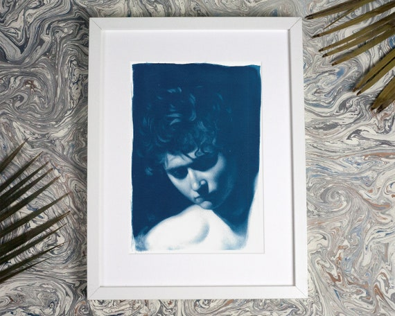 Caravaggio Painting Portrait, Detail, Cyanotype Print on Watercolor Paper, A4 size (Limited Edition)