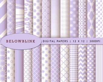 Lavender Digital Paper Pack, Scrapbook Papers, 24 jpg files 12 x 12 - Instant Download - DP243