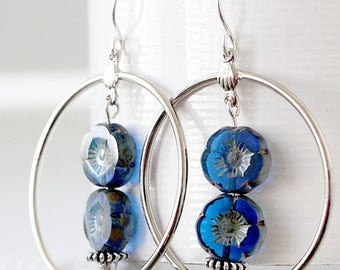 Large Hoop Earrings - Statement Earrings for Her - Cobalt Blue Earrings - Silver Hoop Earrings with Beads - Hoop Earrings for Her
