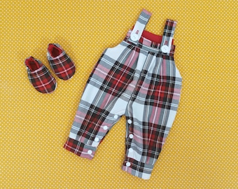 Dungarees - Baby - Red - Tartan - Toddler - White - Kids outfit - Baby gift – Red dungarees – Tartan overalls – Trousers - Baby dungarees