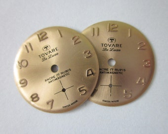 Vintage Watch Faces, Matched Pair, Coppery Gold, 19mm Round