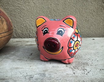 Talavera Pottery Piggy Bank Pink and Blue, Child's Bedroom Decor, Mexican Decor, Pig Gift