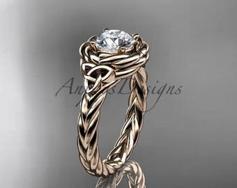 Wedding and engagement ring, 14kt rose gold celtic nautical engagement ring RPCT9201