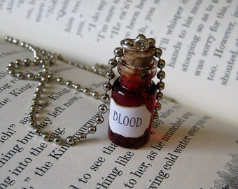 BLOOD 1ml Glass Bottle Necklace Charm - Cork Vial Pendant - Blood Halloween Goth Liquid Blood