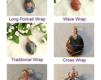 Photo Keepsake Pendant 40 x 30mm - Locket pendant - Mother's gift - Portrait pendant - Family keepsake -Wire wrapped locket - Gemstone locke