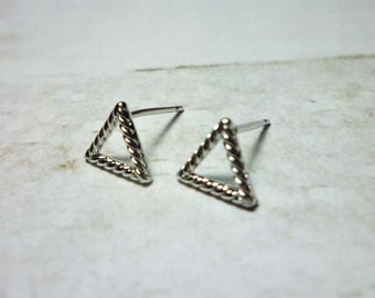 Open Triangle Stud Earrings, Dainty Earrings