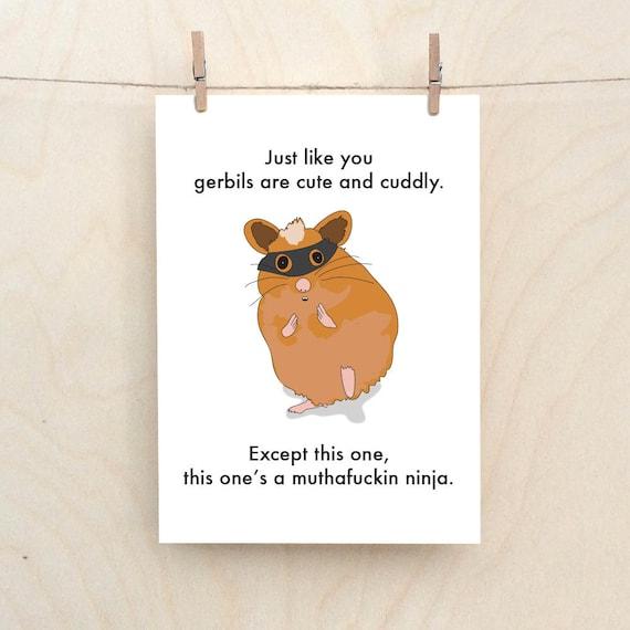 Gerbils a Mother fucking Ninja Card, Funny Card, Funny Gerbil card, funny ninja card.