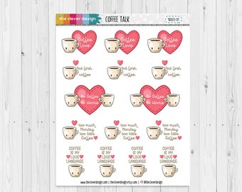 Coffee Talk Planner Stickers | Coffee Planner Stickers | Kawaii Coffee Planner Stickers | 18003-01