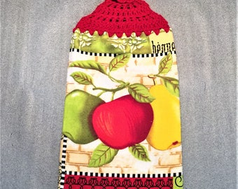 APPLES And PEAR Double Layer Hanging CROCHET Top Towel, crochet towel, kitchen, housewarming, birthday, holiday, gifts