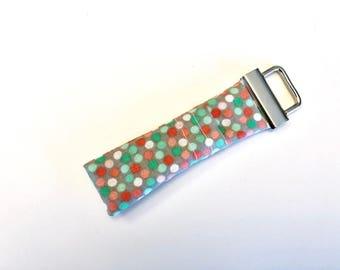 Chapstick Lip Balm Cozy Keychain-Teal and Pink Dots