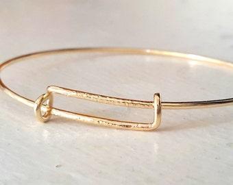 Gold Expandable Bangle Bracelet, Stacking Adjustable Bangle, Handmade