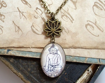 SALE - Buddha Necklace - Buddhist / Buddhism Jewelry - Lotus Chain in Bronze or Silver - Yoga