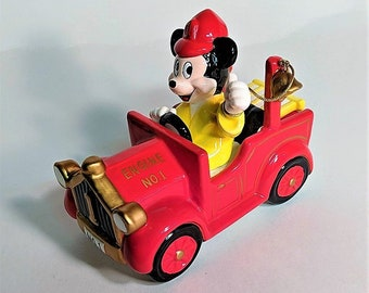 Schmid Disney Music Box Mickey Mouse in Fire Truck Playing Chariots of Fire Taiwan Vintage Ceramic