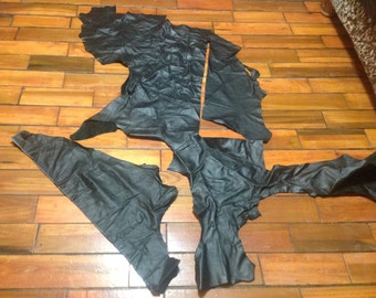 BR397. Black Package of 3 Leahter Cowhide Remnants