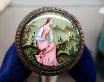 Victorian Era European Portrait Art Brooch